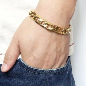 """New Stainless Steel 8MM Curb Gold Link Bracelet 8"""""""